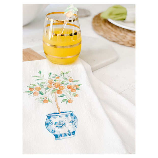 Orange Tree Ginger Jar Tea Towel