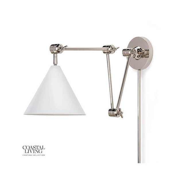 Shelter Island Task Sconce - White/Polished Nickel
