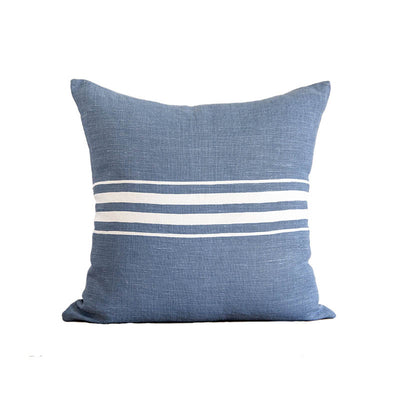 Classic Stripe Linen Pillow - French Blue
