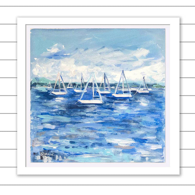 Sailboats Along the Bay Original Framed Painting