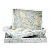 Floral Inlay Mother of Pearl Nesting Trays (set of 3)