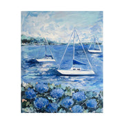 Three Sailboats and Hydrangeas Original Framed Painting