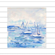 Four Sailboats Original Painting - Mini