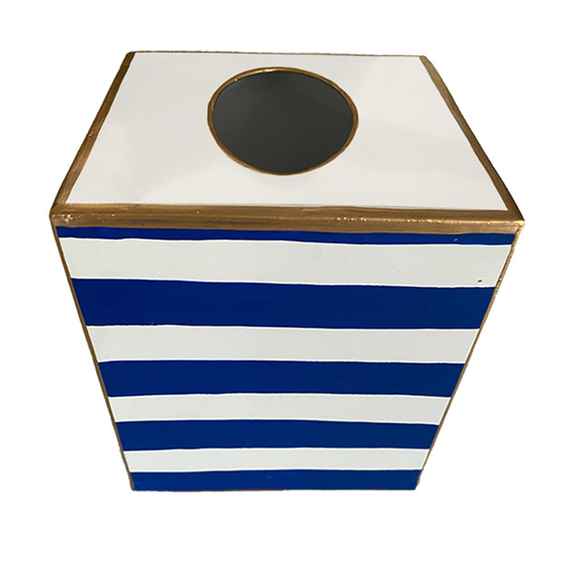 Navy Stripe Tissue Box
