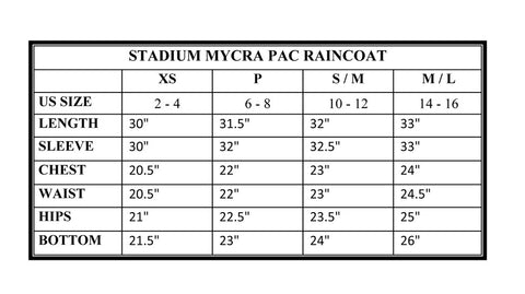Stadium Mycra Pac Raincoat Size Chart and Measurement Guide