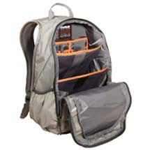 grey backpack open showing inside