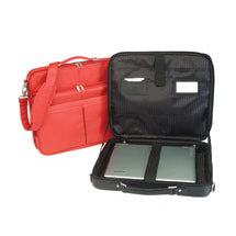 Travel padded laptop bags in colors black and orange