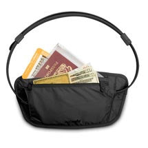 black travel waist pouch for holding passports