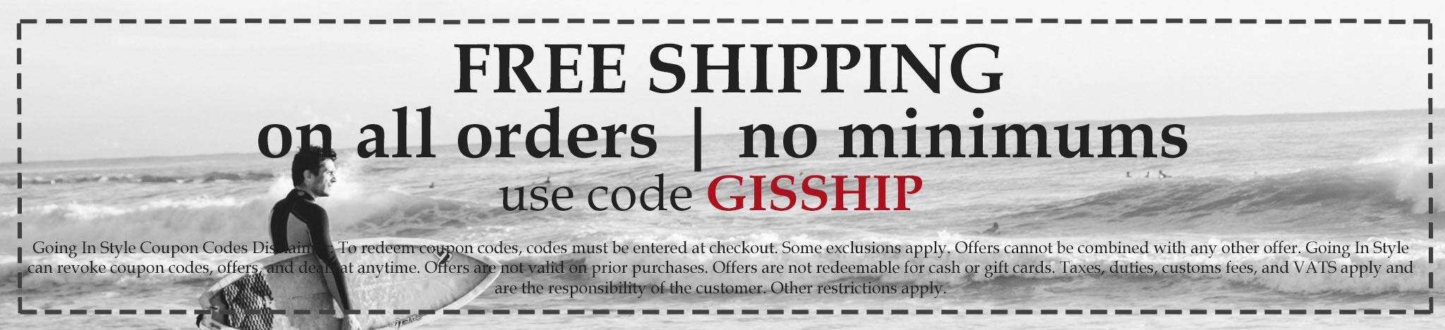 going in style free shipping coupon