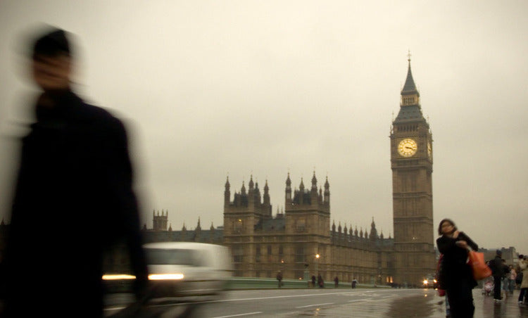 London England Clock Tower on a rainy day