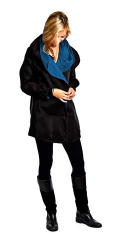 Shop Mycra Pac Mini sapphire Raincoat Jackets Button Up with Oversize Hood
