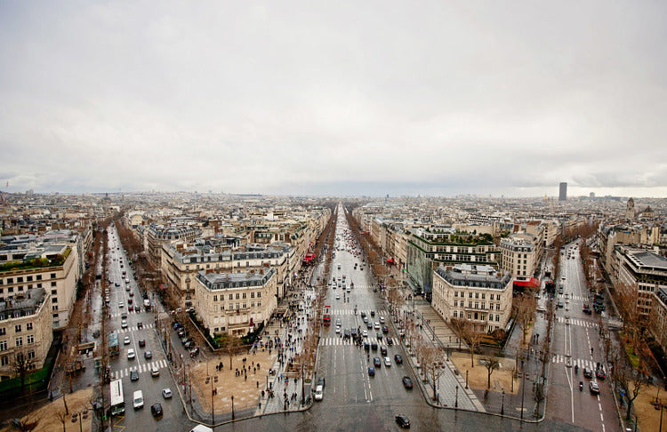 Paris France Streets on Cloudy Day