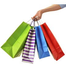 Multi colored shopping bags for shop all