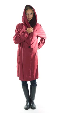 Short red Mycra Pac Raincoat
