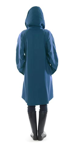 Scrunchi hood with collar mycra pac raincoat color blue