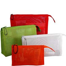 small mesh bags in colors red green and white