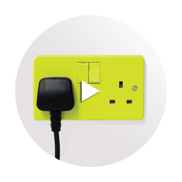 UK Wall outlet with Play video arrow