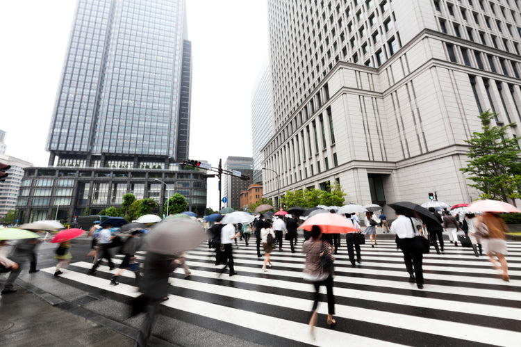 japan rainy cross walk