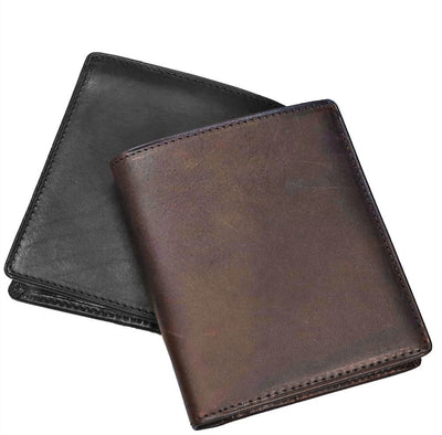 Leather Tall Billfold Wallet with RFID Protection available in Black Leather or Brown Leather