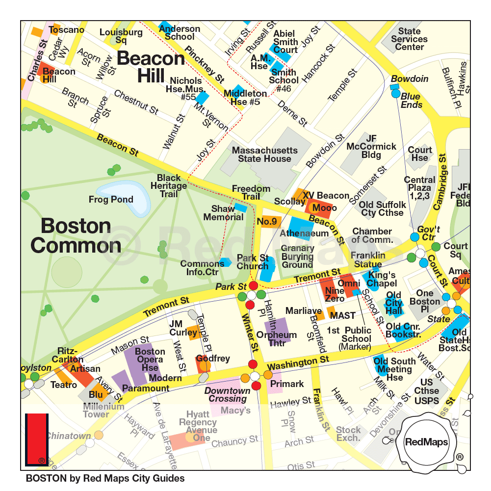 Boston Map Historical Sites.Red Map Boston Going In Style