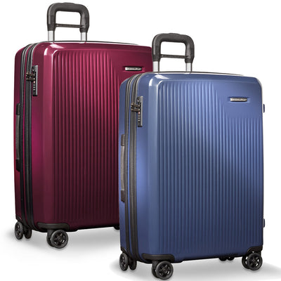 Medium Expandable Spinner Checked Luggage Briggs & Riley in Colors Burgundy and Blue