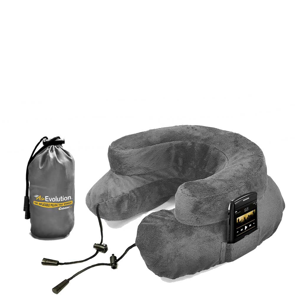 inflatable travel grey neck pillow double with cell phone holder and travel drawstring bag - Evolution Pillow