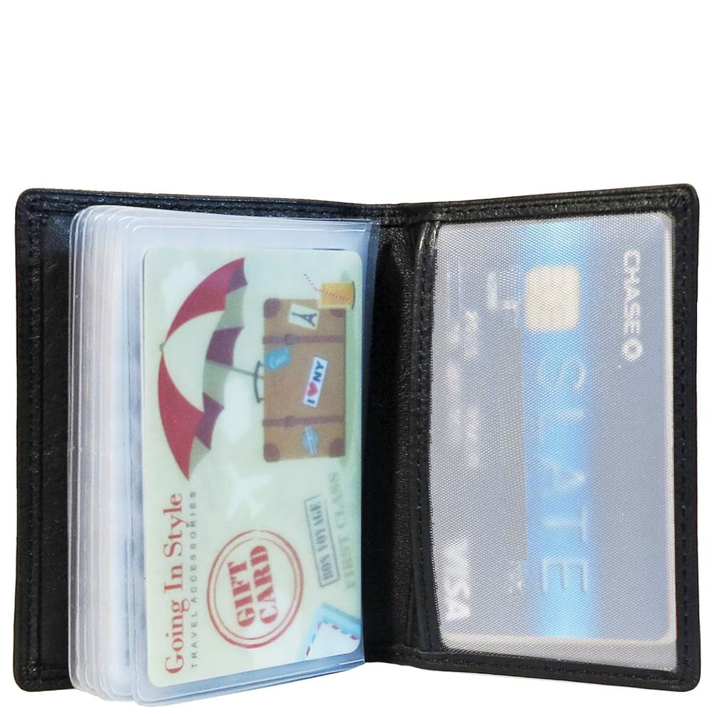 inside of black leather bifold wallet with id window slim profile of leather bifold cardholder - Bifold Card Holder