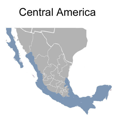 Map highlighting the region of Central America where Central America adapters will work