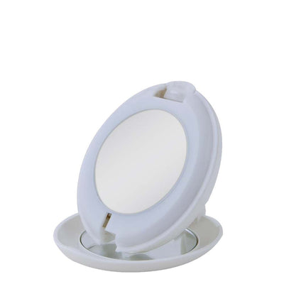 White Compact Purse Mirror Folded Open