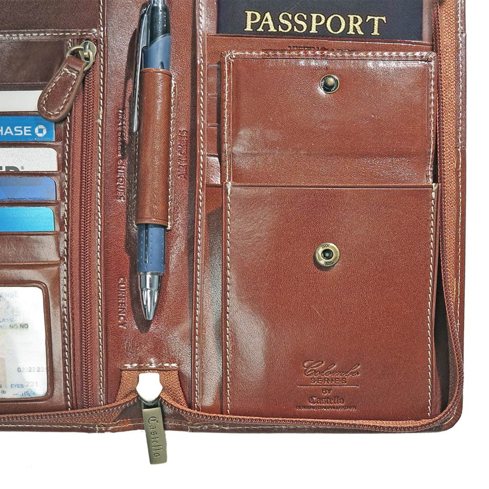 Family Passport And Document Case Italian Leather
