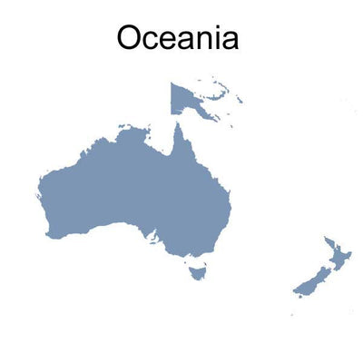 Map of Oceania Region where Adapter Plugs will work