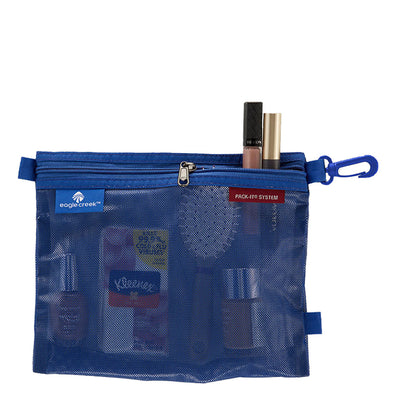 Medium Pack It Sac in the Color Blue Filled with Tissue, Makeup, Hair Brush