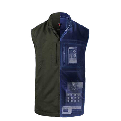 Travel Mens Vest with 26 Internal Pockets Packing Camera, IPod and More