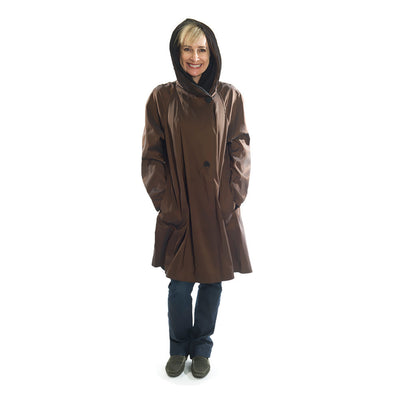 Mycra Pac Short Bronze coat with hood up