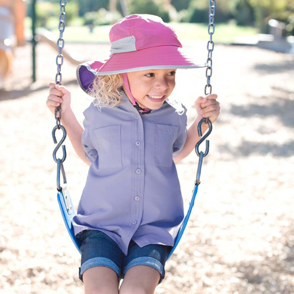 0d2fa13d87f ... Blonde Haired Little Girl Wearing Pink Bucket Sun Childs Play Hat While  Swinging · Little Boy ...