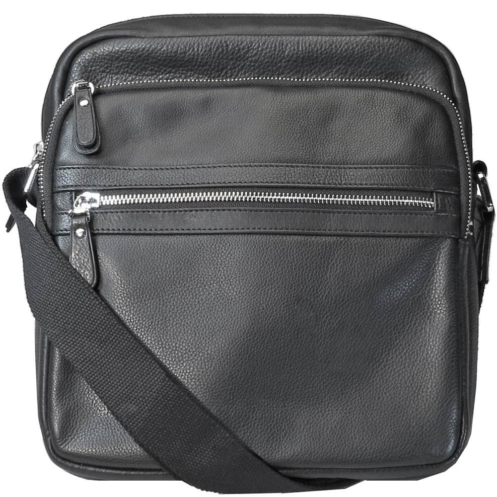 4a97314f3a Black · Front View of Black Top Zip Crossbody Shoulder Bag with Two Front  Zip Pockets ...