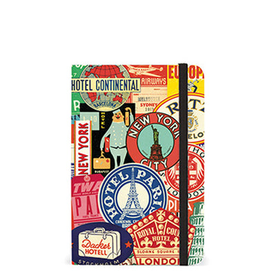 Travel Journal with Stamps of Paris, NYC and more