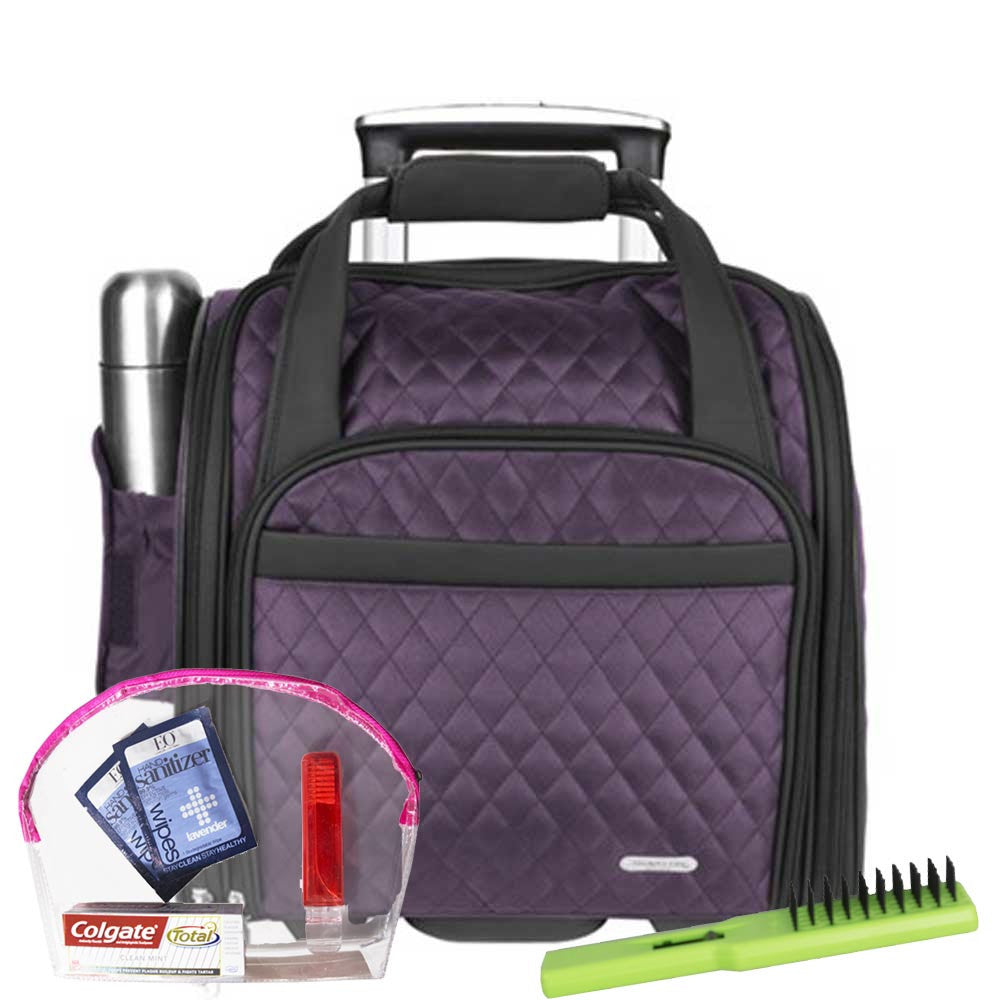 2c635e17d RebeccaPurple · Black · Inside of Travelon Wheeled Underseat Carry On with  Mesh Pocket ...