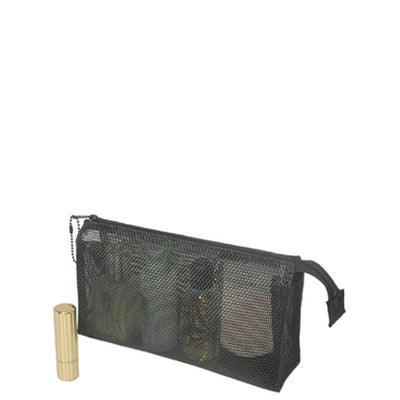 Mesh Black Cosmetic Bag Size 4 X 8 Inches Lightweight for Travel
