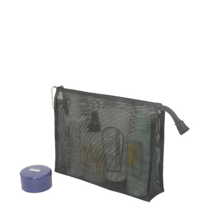 Walker Black Mesh Gusseted Cosmetic Bag 8 x 10 Inches