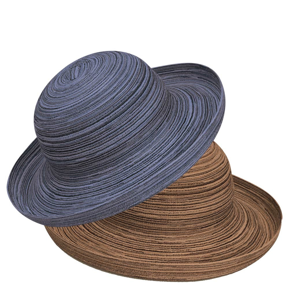 Navy Blue Colored Sydney Straw Sun Hat Sitting On Top of Camel Brown  Colored Sydney Hat ... 11a3b3d7efd