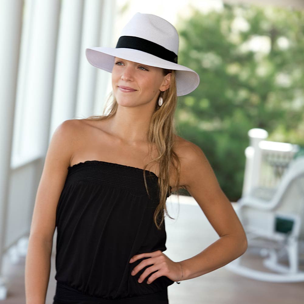 44aeea27ff6 ... Hat with Brown Ribbon Accent · Woman Standing On Patio in Black Dress  Wearing White Frankie Womens Fedora with Black Ribbon Detail