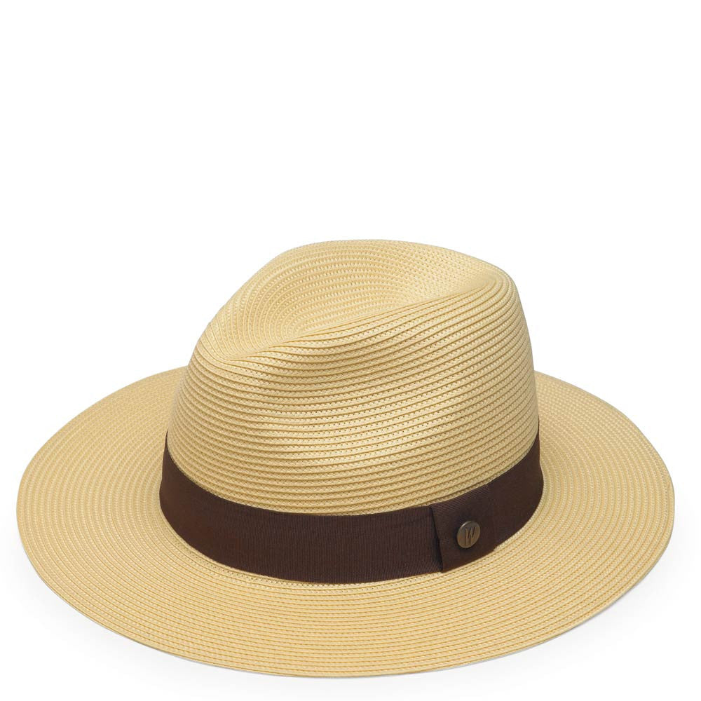 Natrual Colored Frankie Fedora Womens Hat with Brown Ribbon Accent ... 3dec6f66b7b