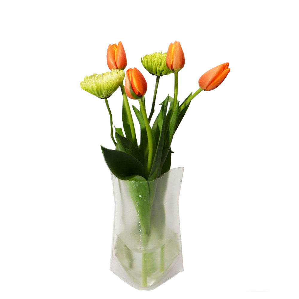 Wondervase travel clear collapsable flower vase medium going wonder vase clear travel vase thermally activated travel flower reviewsmspy