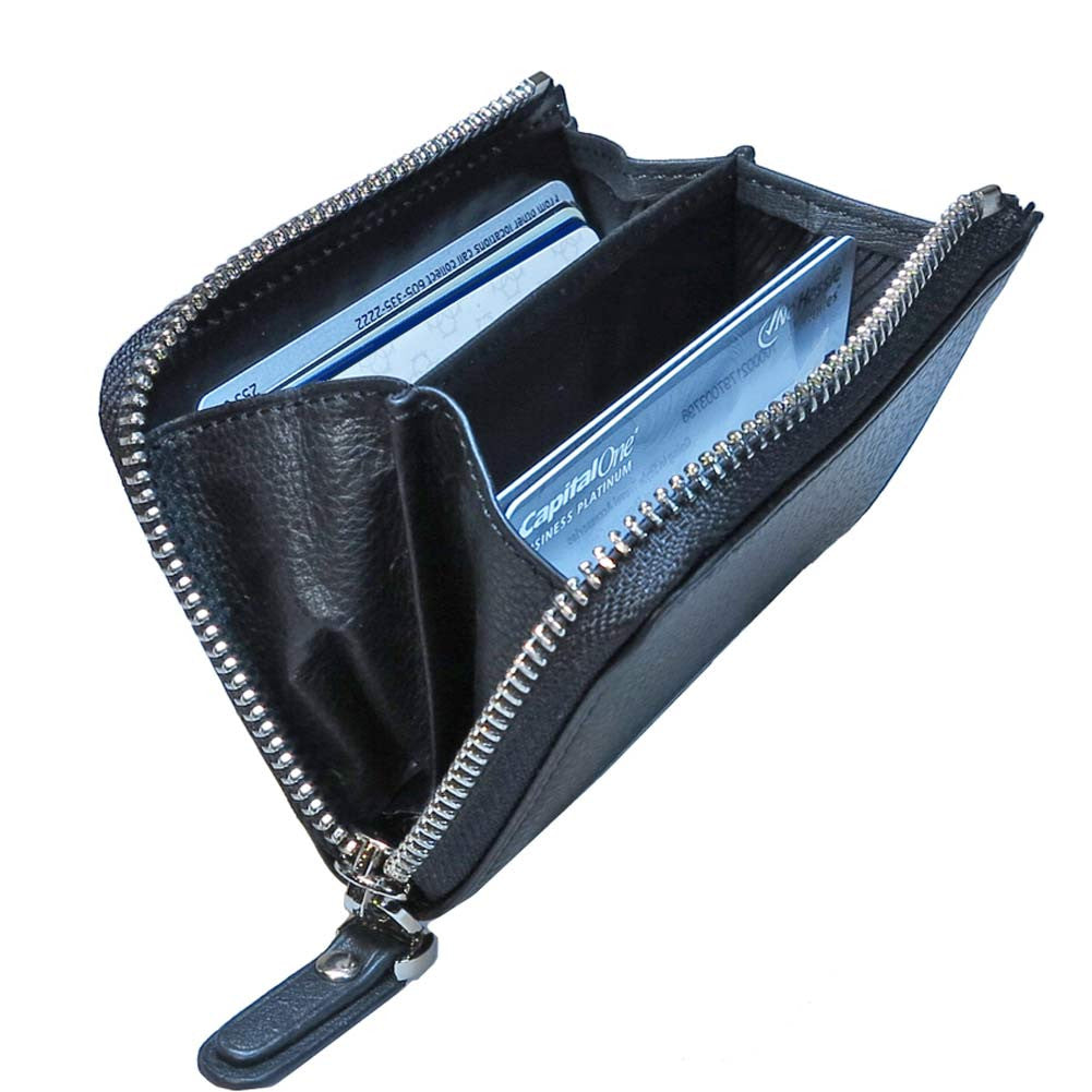profile view of inside of leather zip cardholder with accordian style compartments - Zip Card Holder