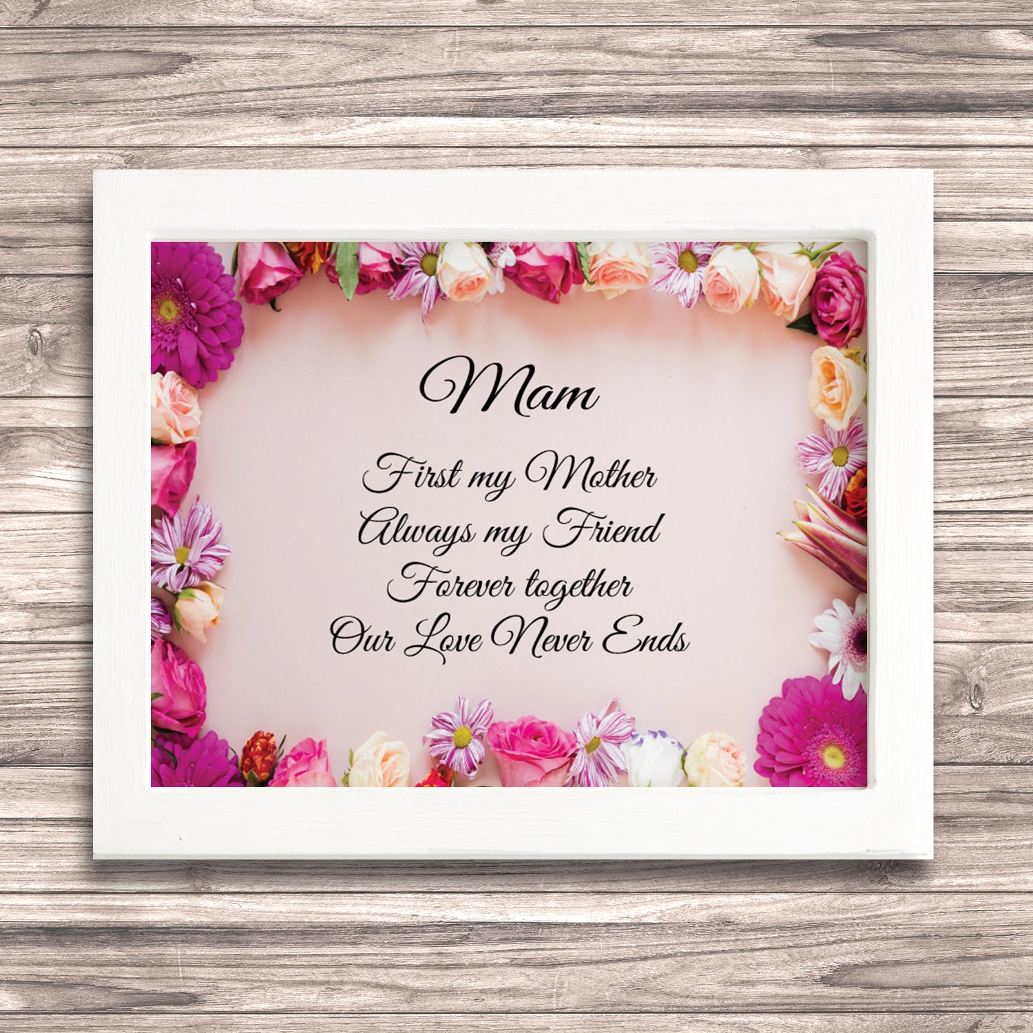 Mam Floral Poem Print Treasured Moments