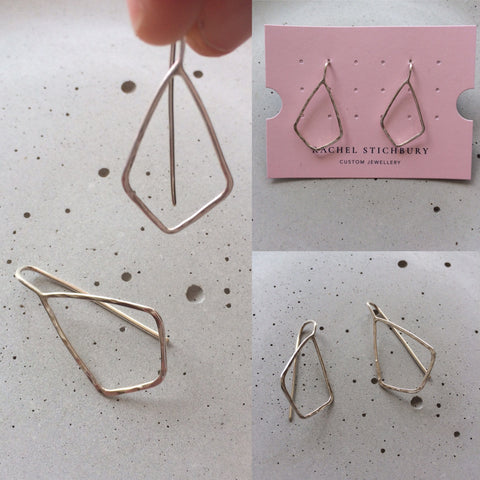 Folded Diamond Earrings