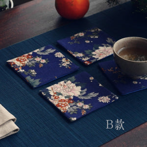 Dark blue printing cotton and linen cloth art cup pad tea pad tea holder pot pad Kung Fu tea set accessories anti knock insulation pad accessories