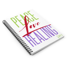 Load image into Gallery viewer, Peace Love Healing Spiral Notebook - Ruled Line