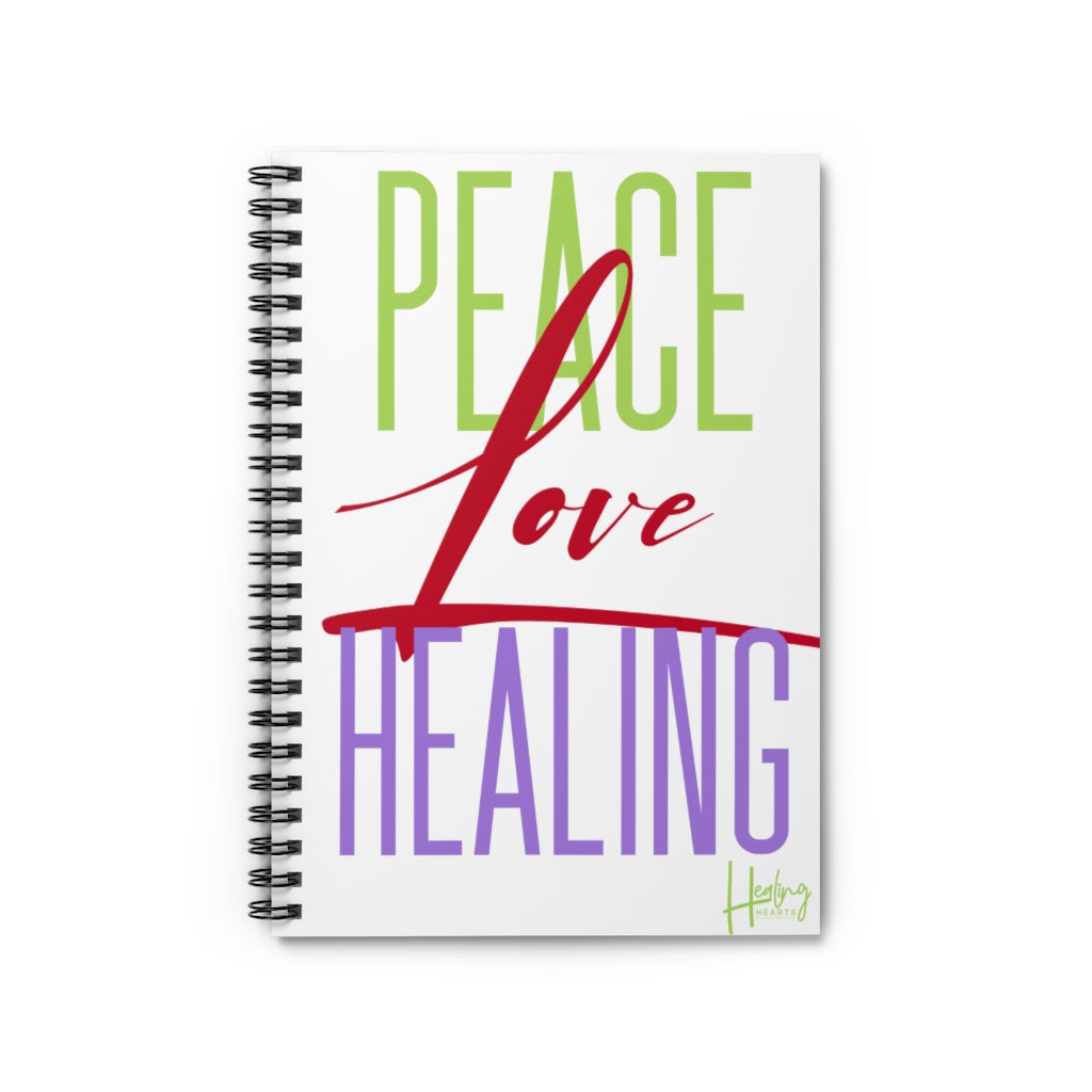 Peace Love Healing Spiral Notebook - Ruled Line